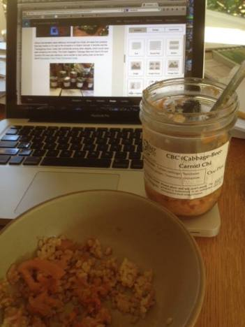 "Elizabeth of Minto Island Growers writes: ""Eating Saueressen while writing about Saueressen in the CSA newsletter. Cabbage-Beet-Carrot Chi over rice, SO GOOD!"""