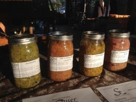 A lineup of the first batch ever to make it into a jar with a label at a Minto Island Growers potluck